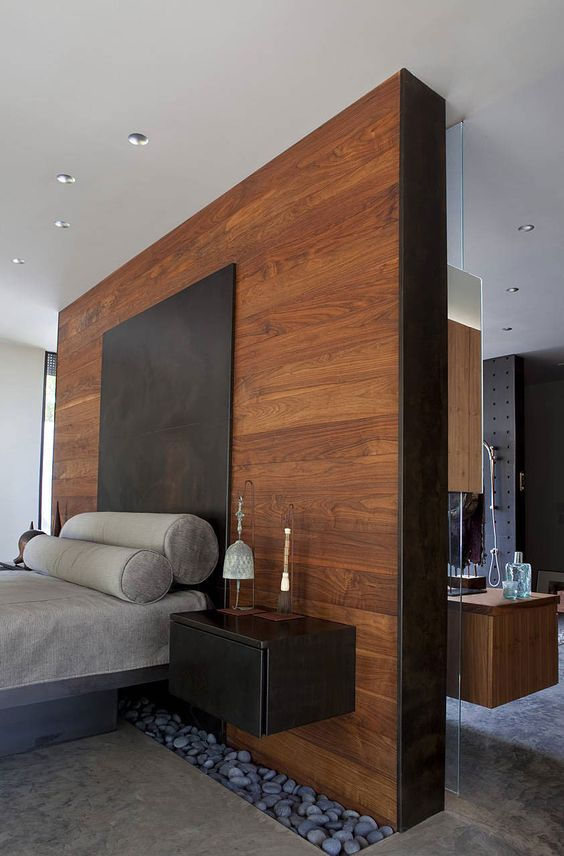 wood color in masculine bedroom