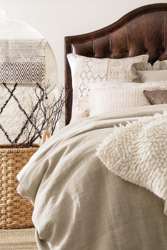 woven jute rug for warm masculine bedroom decor