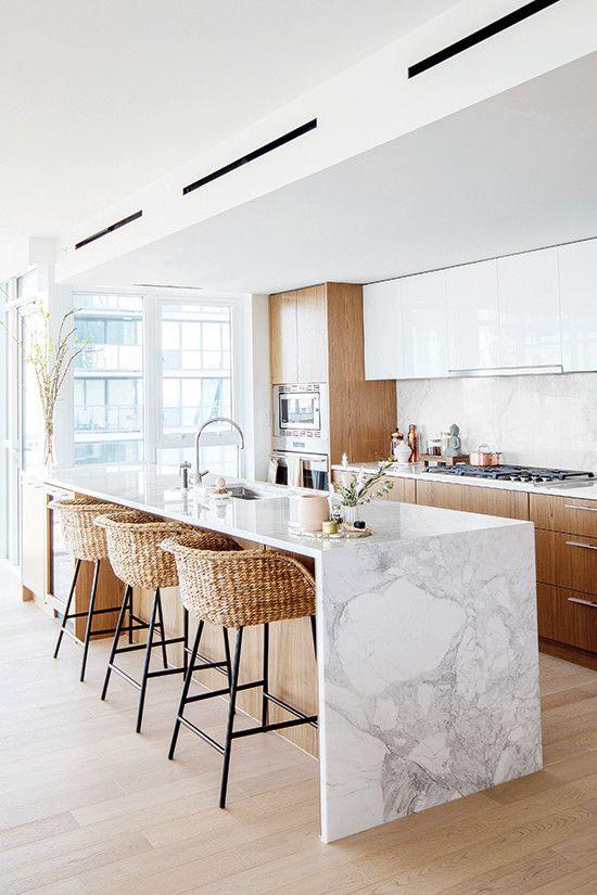 Elegant Japandi kitchen island decor