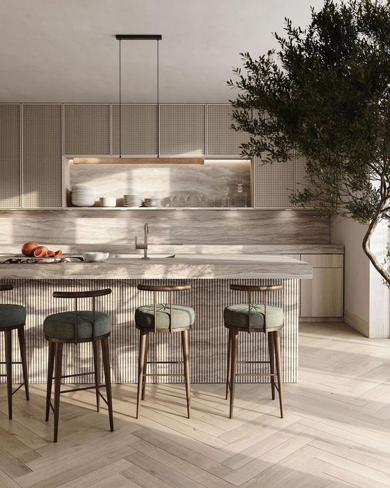 Fresh natural look Japandi kitchen design