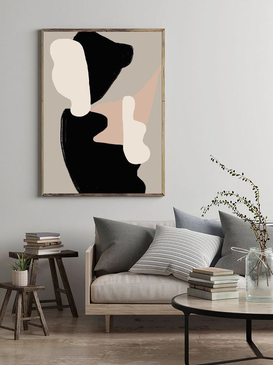 abstract wall art in Japandi interior style