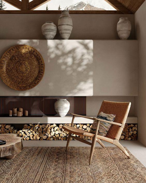 Artistic minimalist Japandi living room design