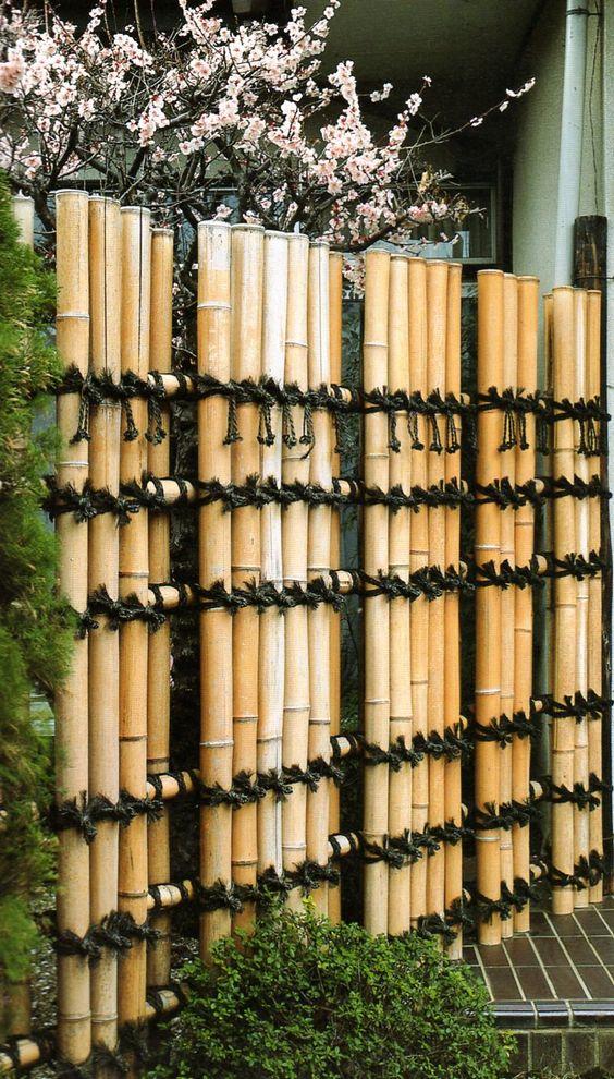 Bamboo fence Japanese garden aesthetic