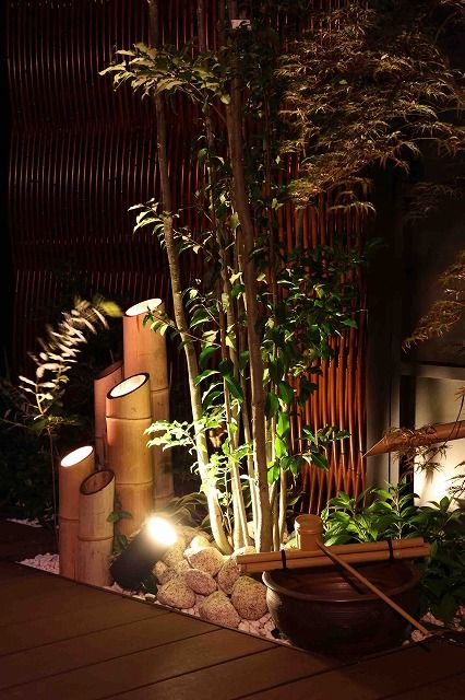 Bamboo lights in Japanese garden
