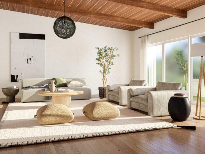 Japandi living room decor