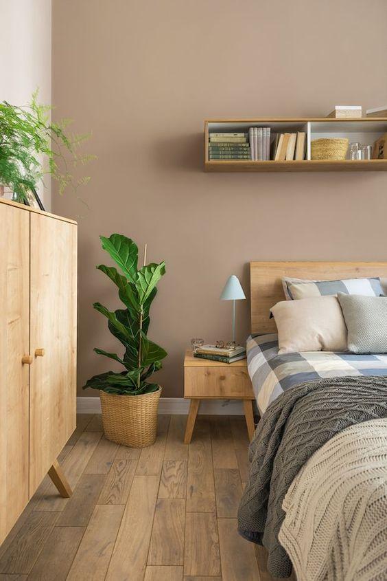integration of green plants in Japandi bedroom decor
