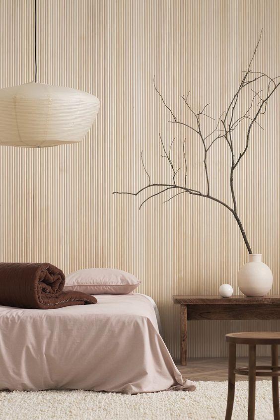 calming Japandi bedroom style