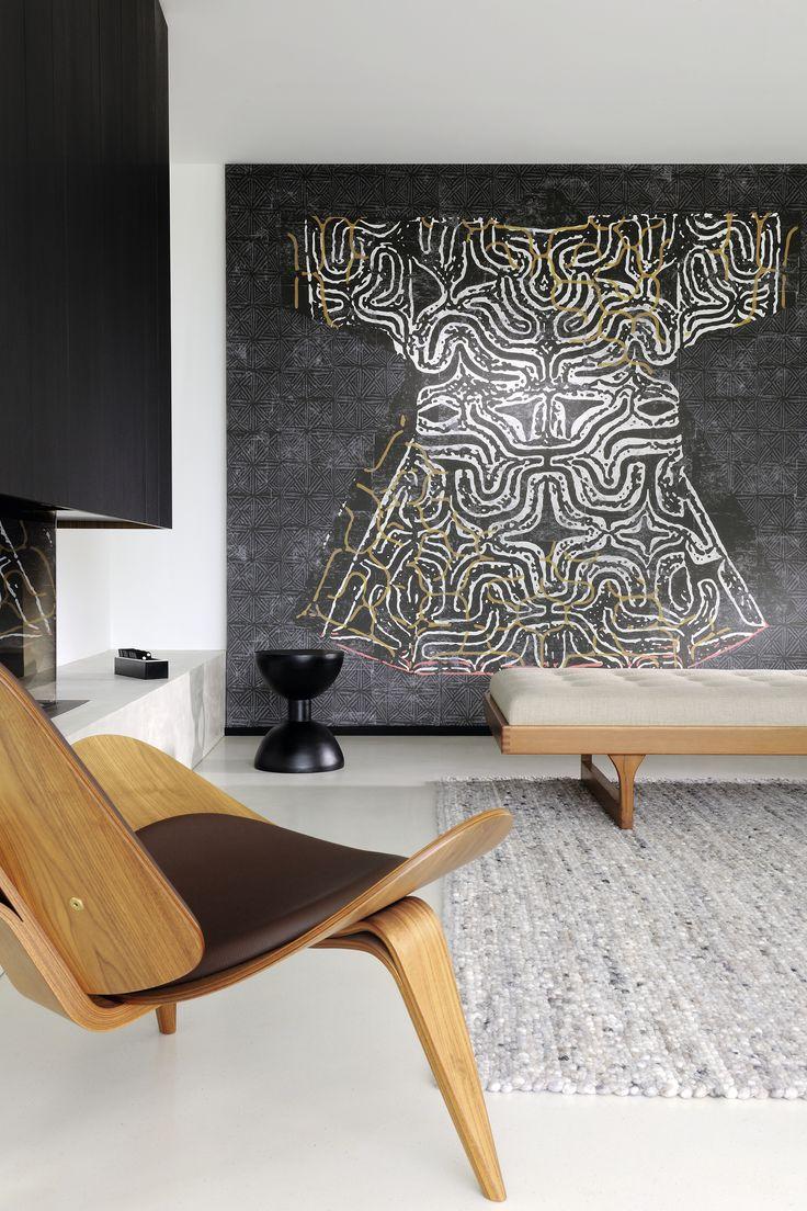 Trendy Kimono wall art in Japandi living room decor