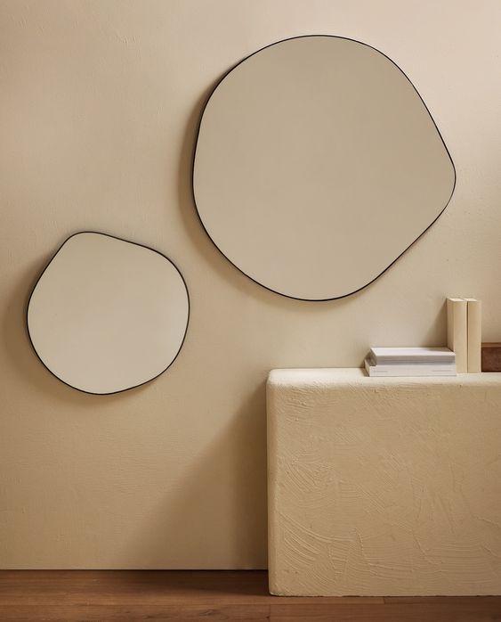organic mirror shape Japandi wall decor ideas