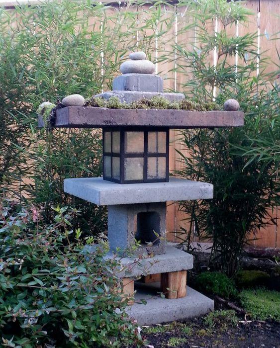 Japanese garden essential featuring pagoda lantern