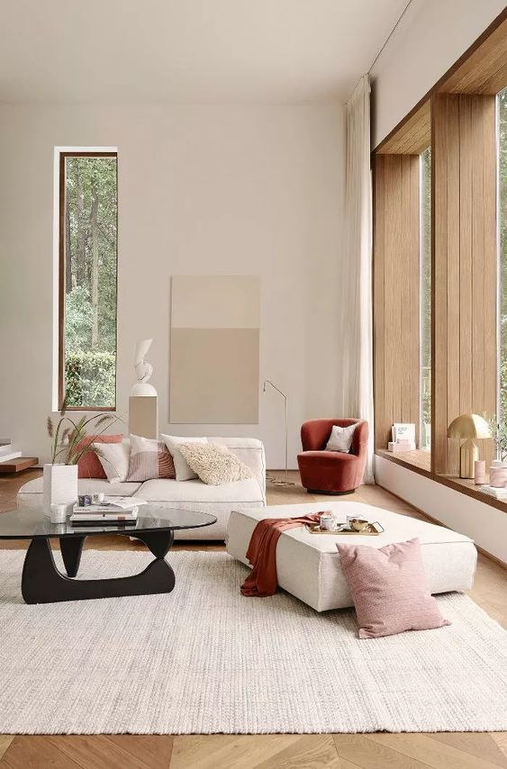 Japandi living room style with pop color furniture decor