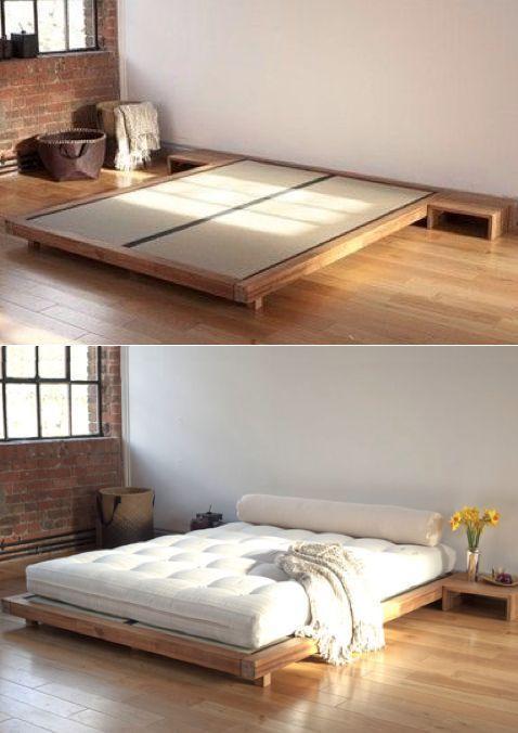 functional bedstead in Japandi bedroom style