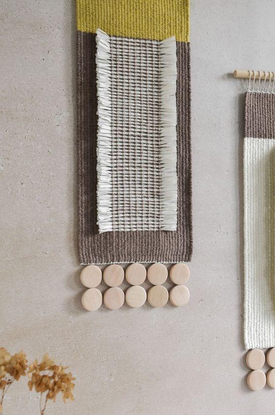 Japandi wall decor idea with woven wall hanging art