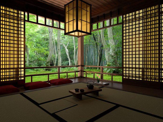 Japanese tea house design in the garden