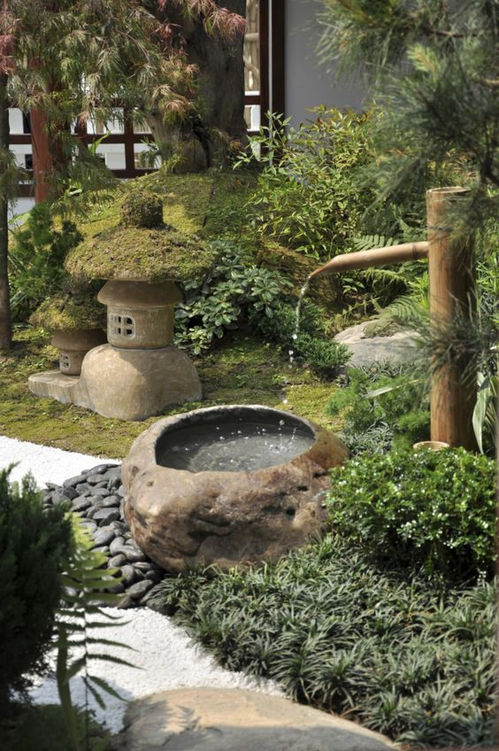 bamboo water feature Japanese style