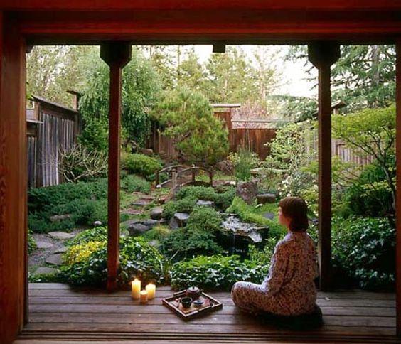 meditation in Japanese garden