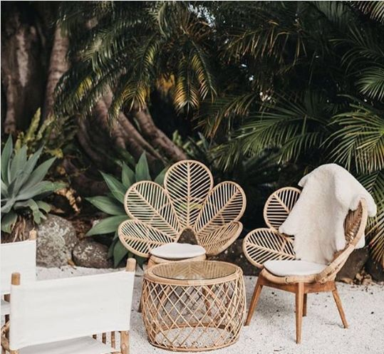 leave rattan chairs tropical patio decor