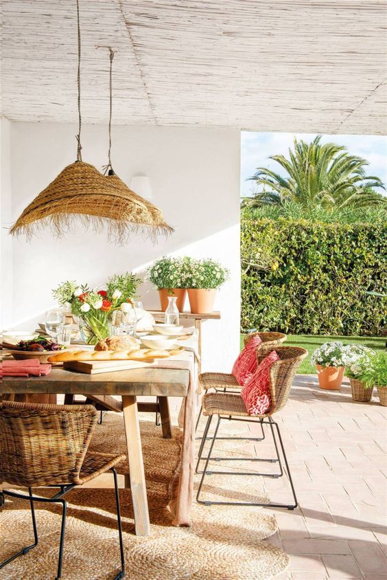 rattan dining table tropical furniture sets