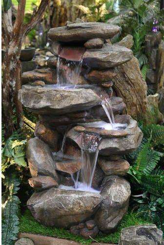 rock water fountain Japanese garden