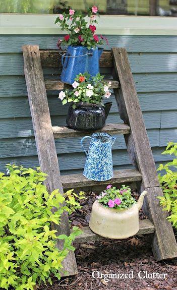 rustic tea kettle planter box
