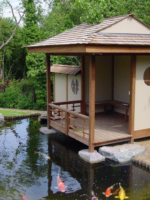 Japanese tea house above the pond