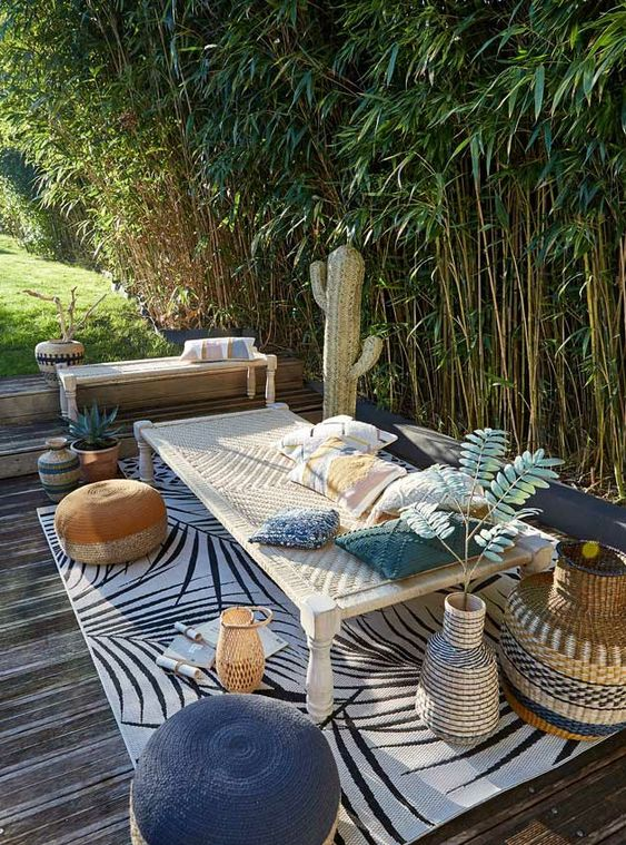 cozy bench to enjoy tropical scenery